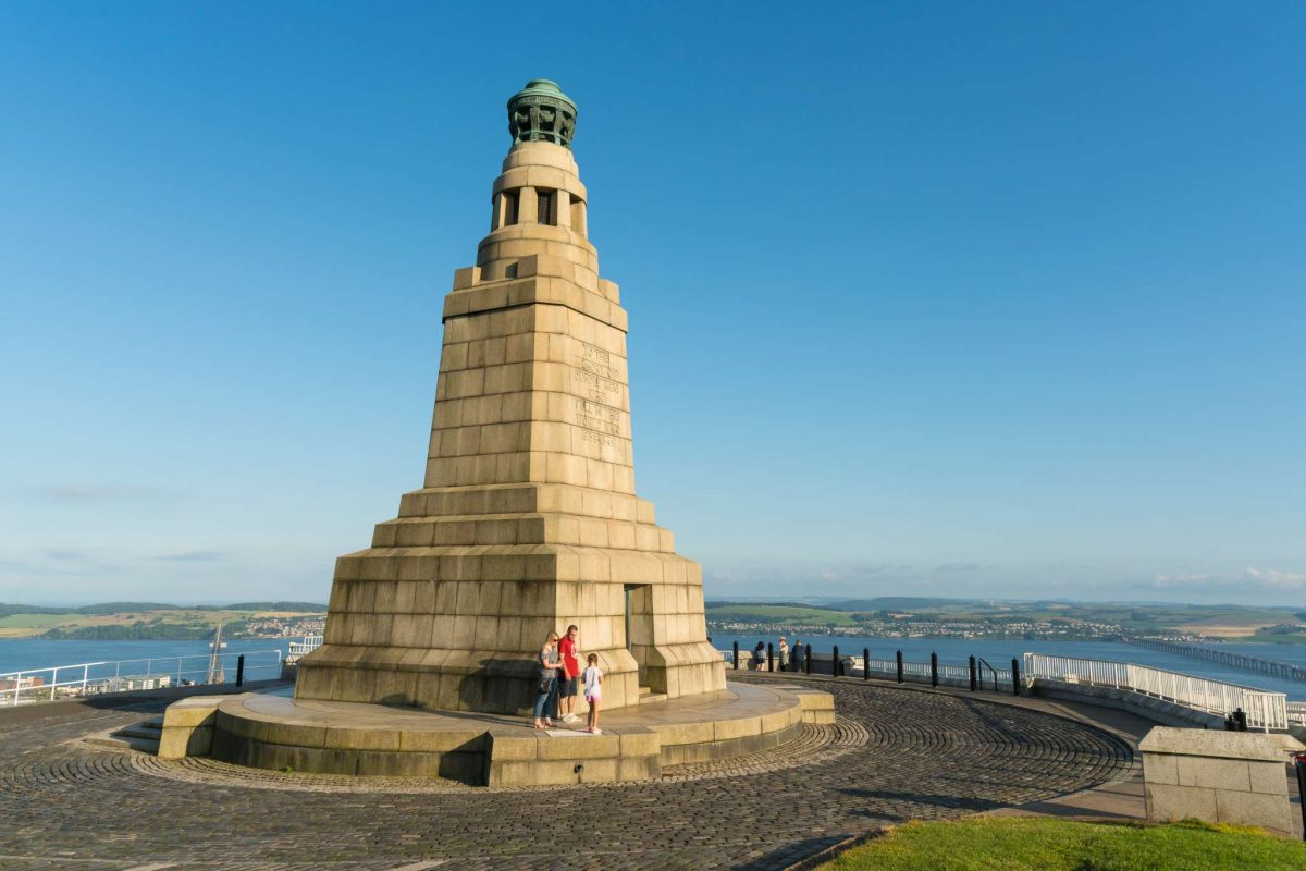 The War Memorial atop Dundee Law with views over the city to Fife
