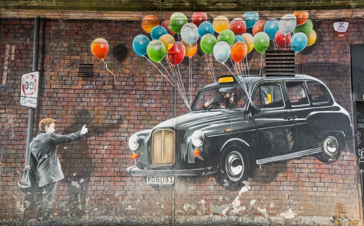 The World s Most Economical Taxi by Rogue-One in Mitchell Street Part of the Glasgow City Centre Mural Trail.