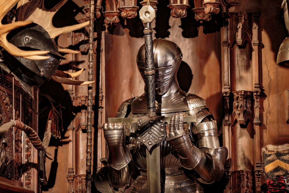 Suit of armour at Sir Walter Scott's 1800s baronial mansion