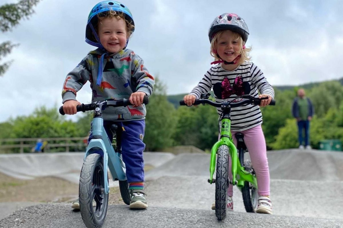 Starting mountain biking at a young age at Cardrona Pump Track, Scottish Borders
