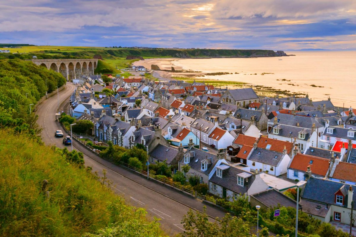 Looking out over the houses of Cullen Bay to the viaduct, Moray Speyside