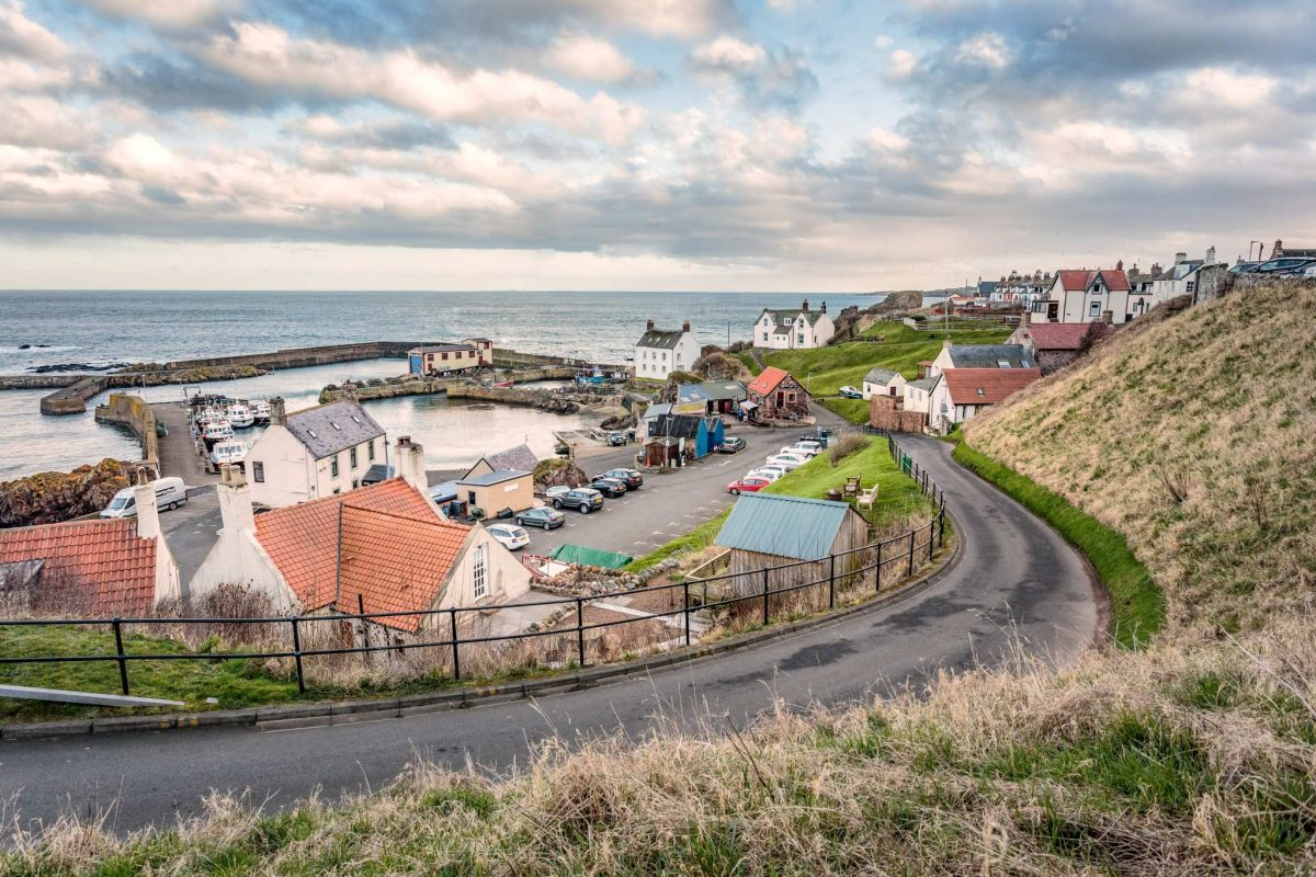 The road and houses at the harbour of St Abbs, Scottish Borders