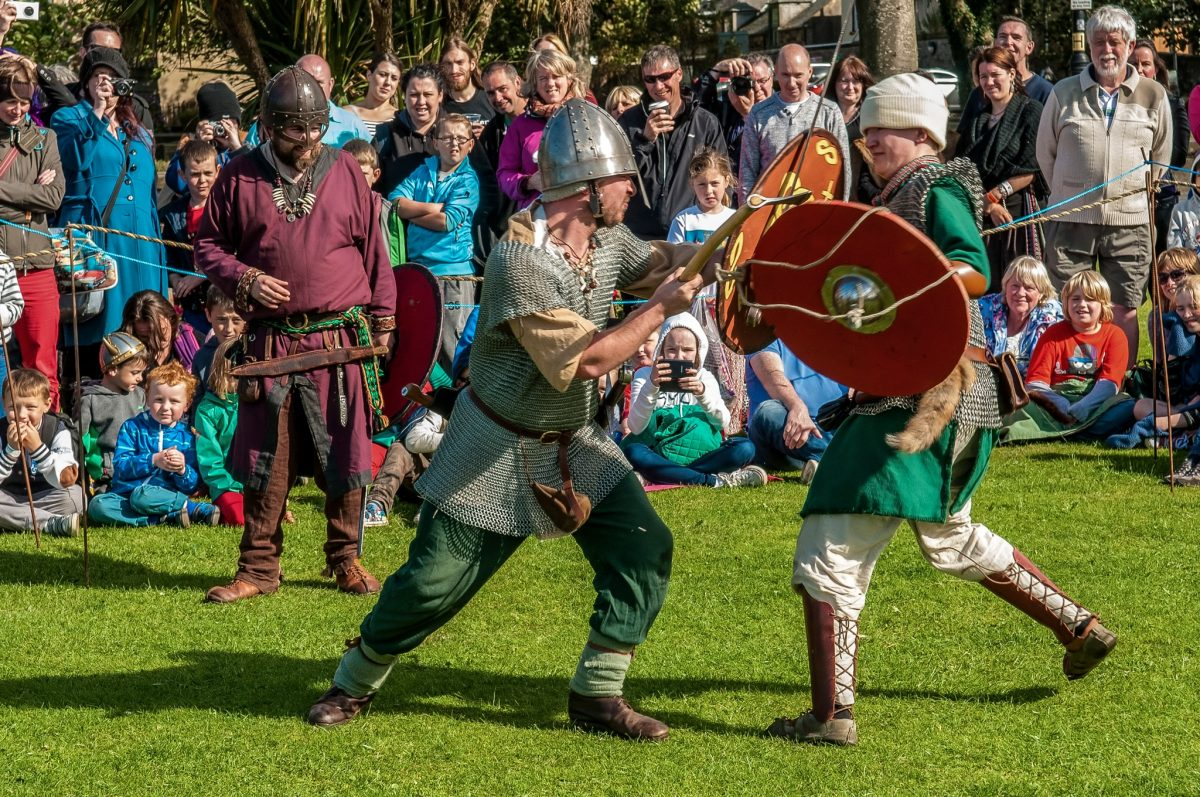 Largs Viking Festival battle reenactment marks the 1263 Battle of Largs, the last mainland battle between the Scots and Norse.