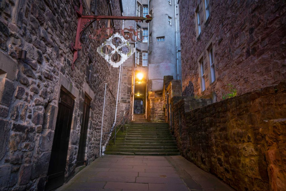 Looking down the narrow alleyway and up the steps at Advocate's Close, Royal Mile