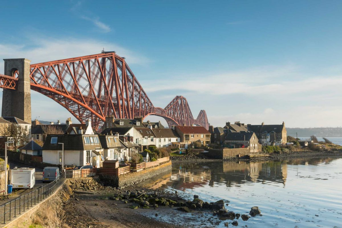 Looking across the houses to the Forth Bridge from North Queensferry