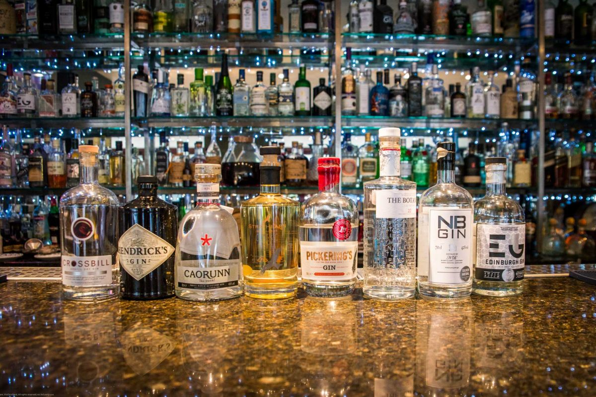 Gin bottles on the bar at 56 North in Edinburgh