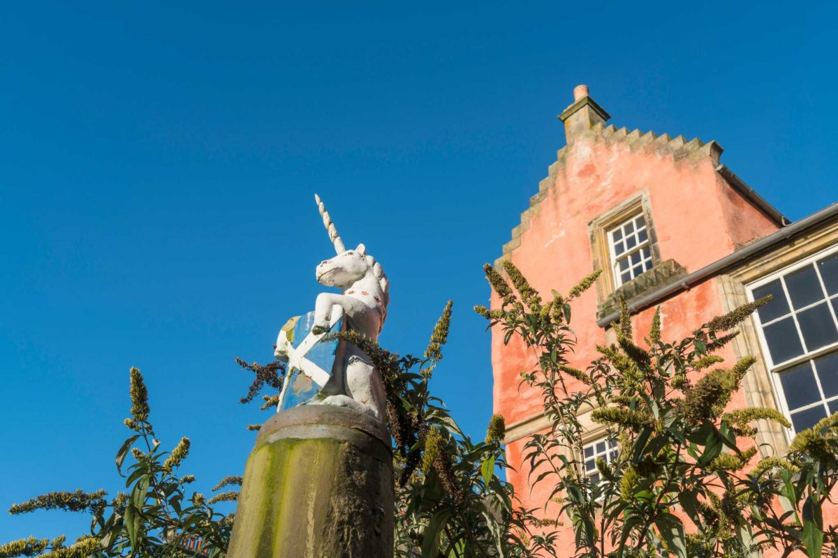 The unicorn beside the Abbot House, Dunfermline