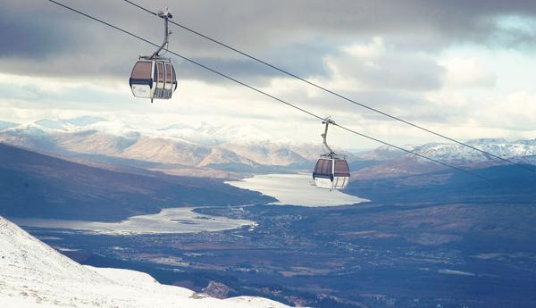 The Mountain Gondola at Nevis Range, looking over Loch Eil, Highlands