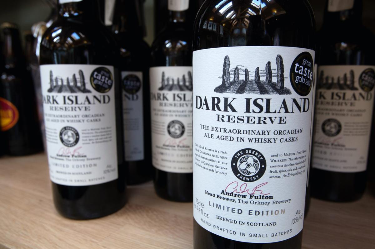 A bottle of Dark Island Reserve from Orkney Brewery