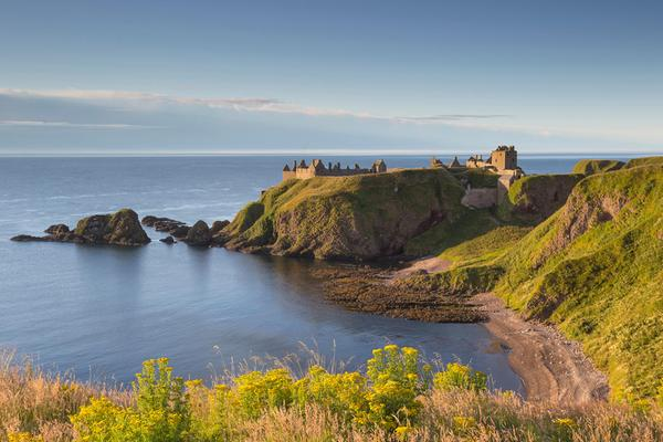 The ruins of the mighty coastal fortress of Dunnottar Castle, Aberdeenshire
