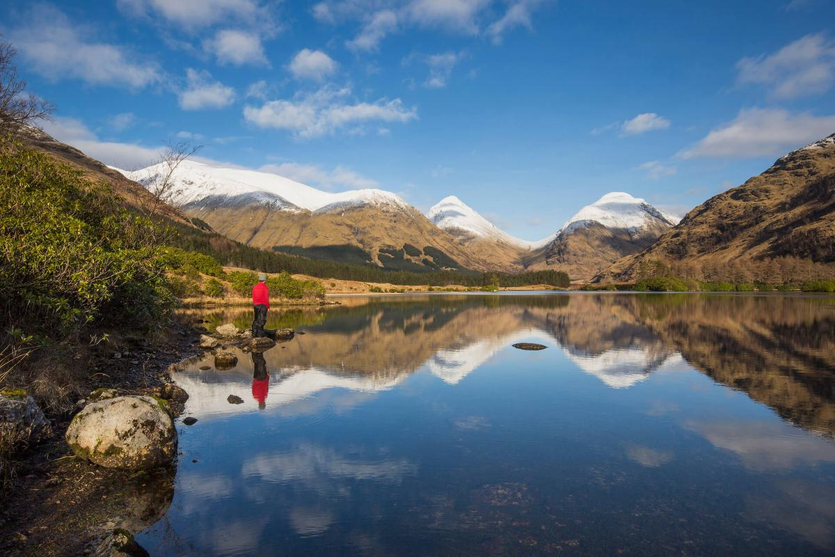 Lochan Urr in Glen Etive with the Buachaille Etive Beag and Buachaille Etive Mor in the background