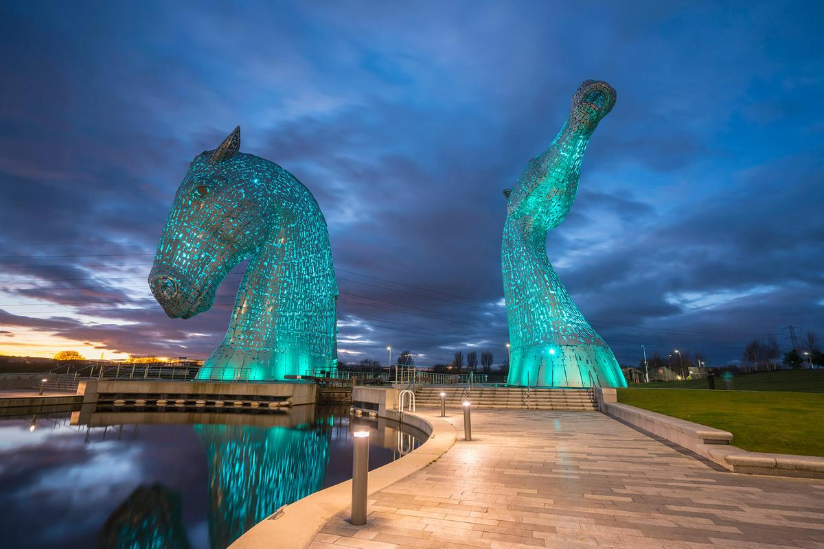 The Kelpies at dusk, The Helix, Falkirk