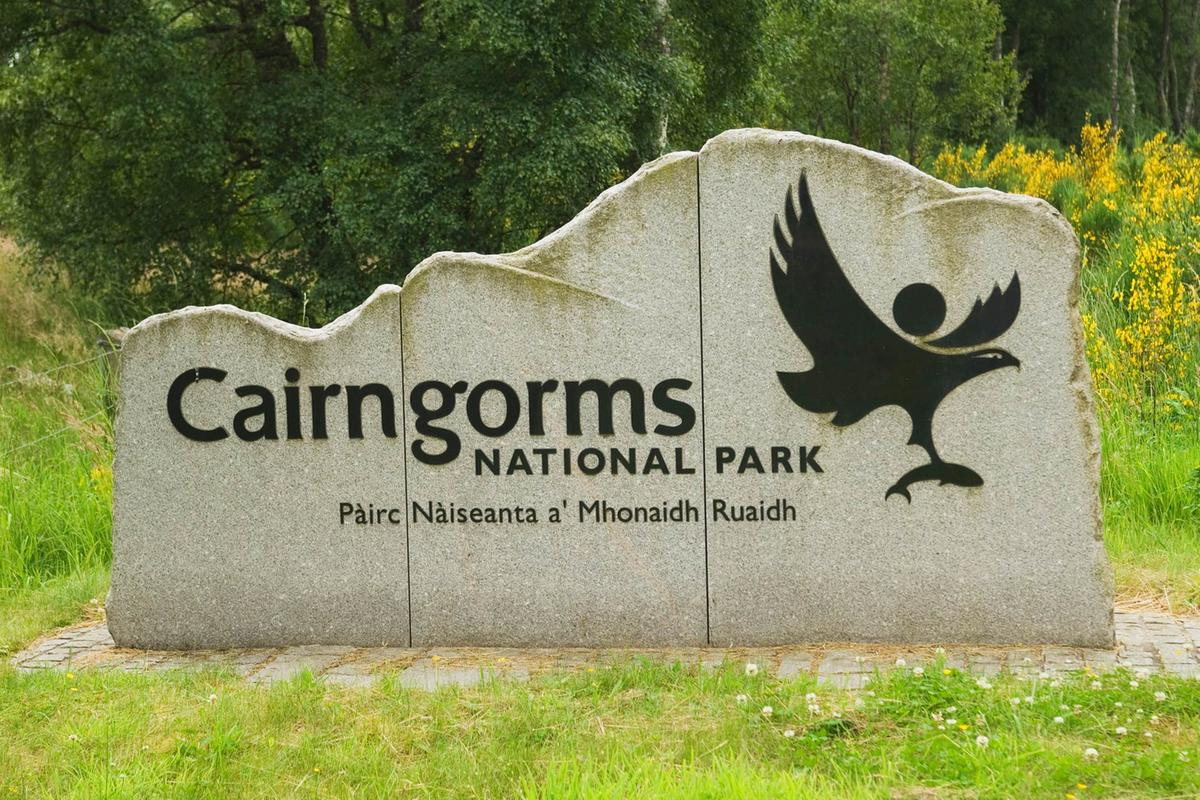 Cairngorm National Park sign Deeside