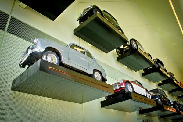 A close up of the real cars, hung on the wall at the Riverside Museum in Glasgow
