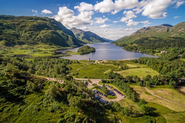 Looking down on the Glenfinnan Monument and Loch Shiel in the Highlands © Airborne Lens