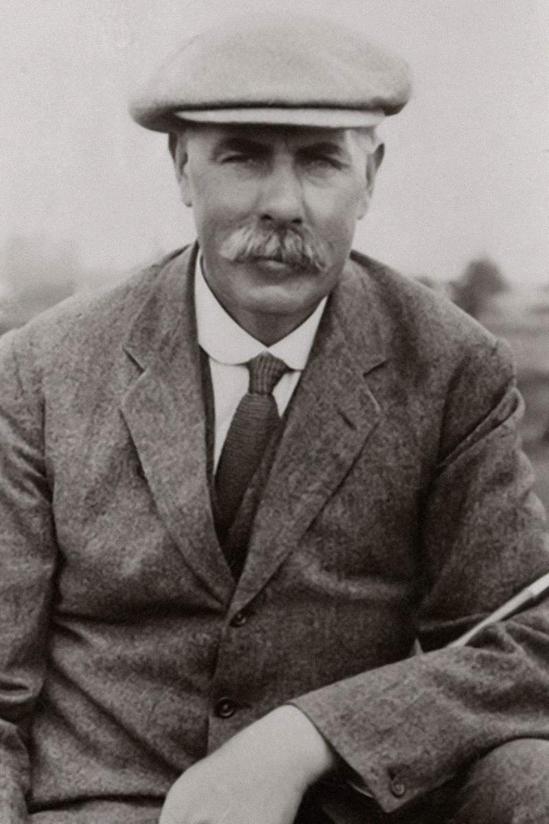 A black and white image of James Braid