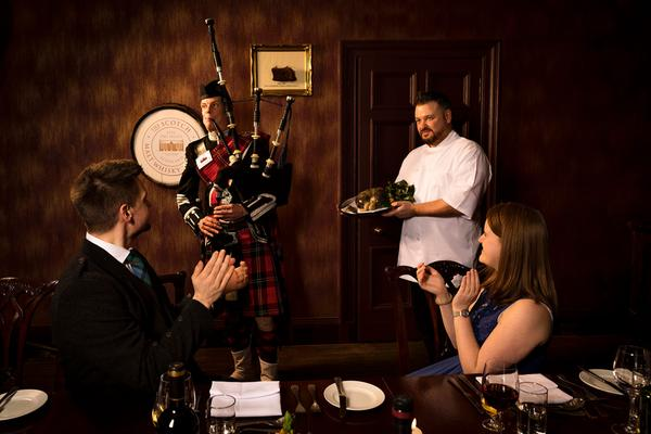 Piping haggis Burns Supper