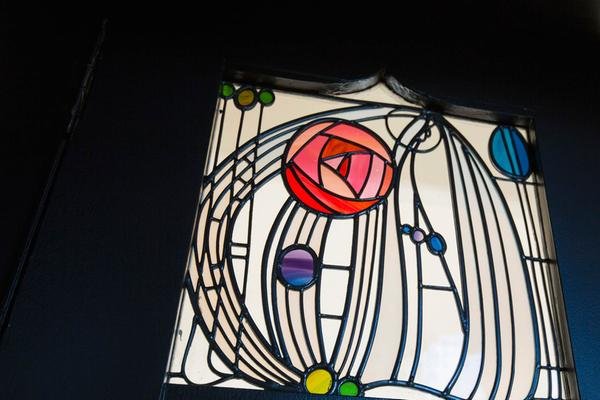 Stained glass rose motif in the Charles Rennie Mackintosh-designed House For an Art Lover, Bellahouston Park