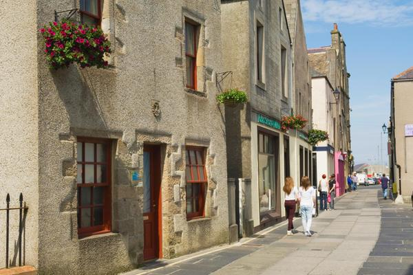 Looking down Bridge Street in Kirkwall, Orkney