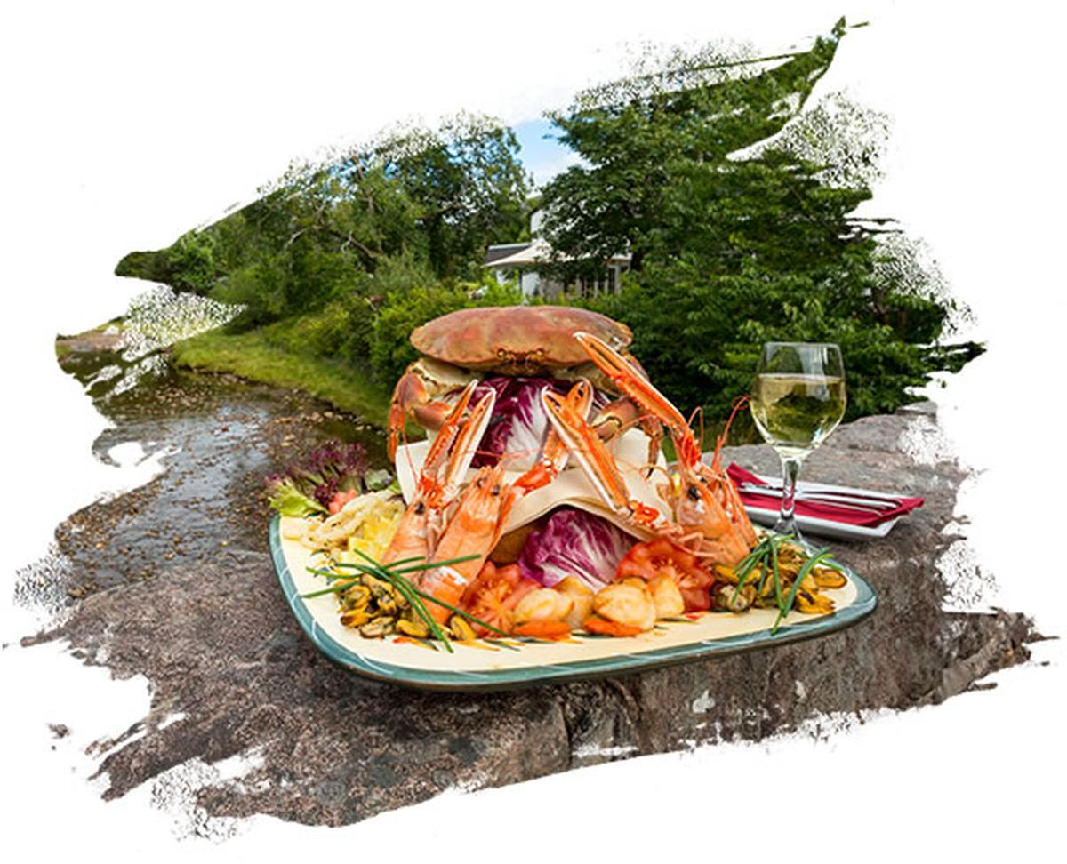 A Summer Seafood Platter from the restaurant of The Old Inn, Gairloch, Highlands of Scotland