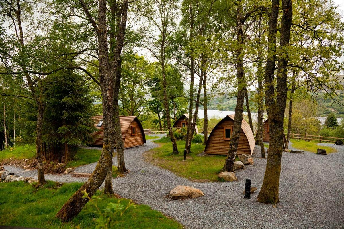 Traditional Mongolian yurts at Loch Tay Highland Lodges in Perthshire