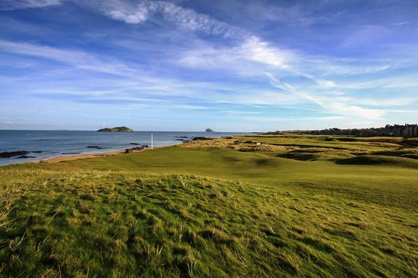 Looking across West Links golf course at North Berwick Golf Club to an island © West Links