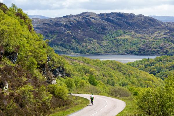 VisitScotland Brilliant Moments cyclist embarks on a tour of Scotland. On Route on the A861 at Moidart © Ian Rutherford