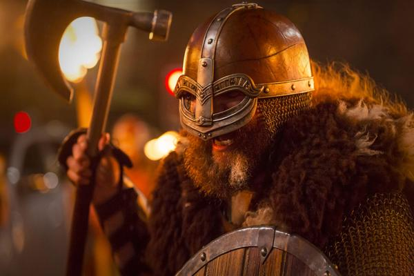 Up Helly Aa Vikings during the Torchlight Procession as part of Edinburgh's Hogmanay celebrations