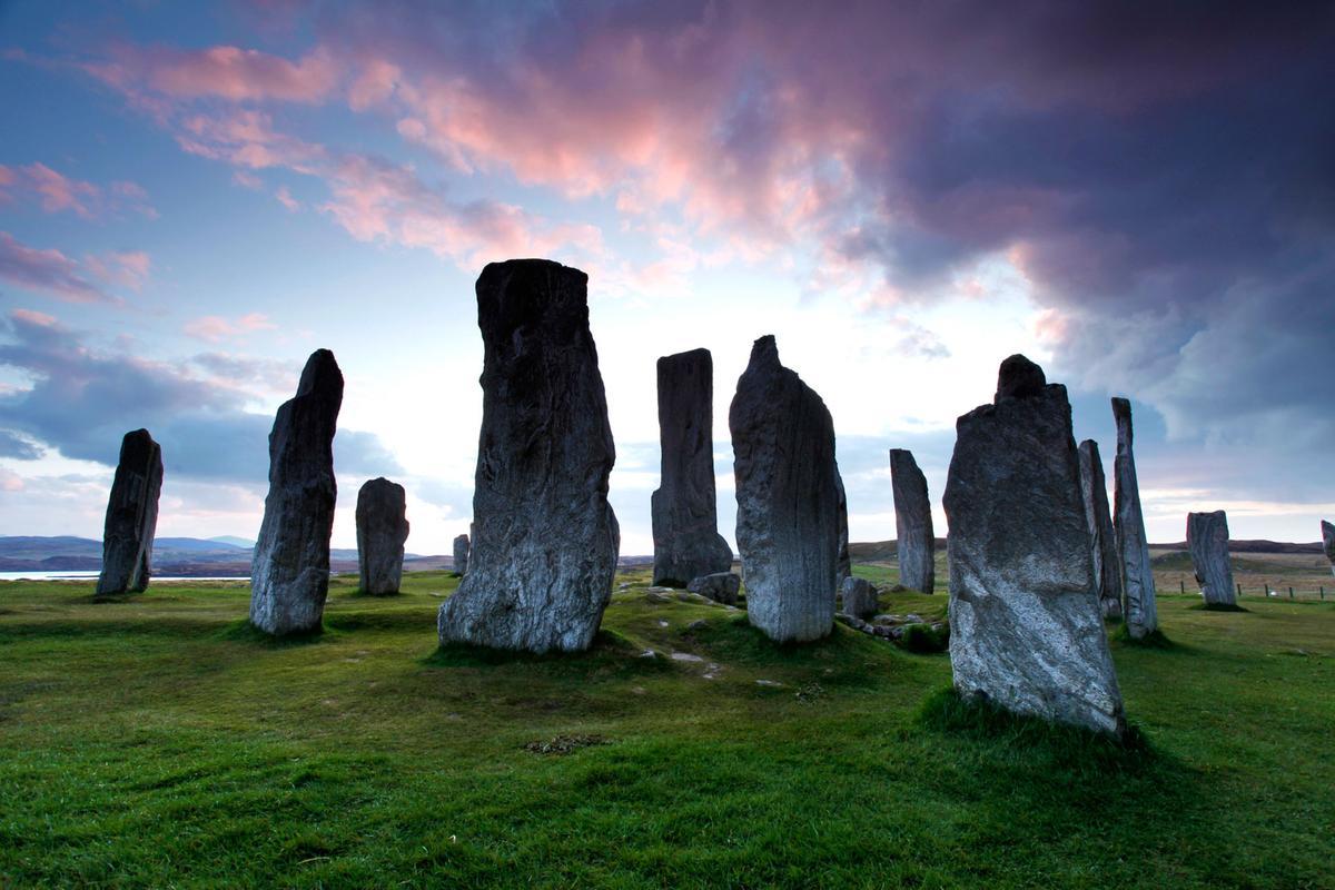 Calanais Standing Stones colourful sky