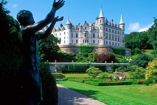 Looking across the gardens and on to the fairytale Dunrobin Castle, Golspie, Highlands