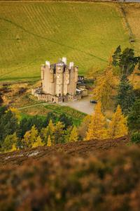 Braemar Castle in the Cairngorms National Park from above