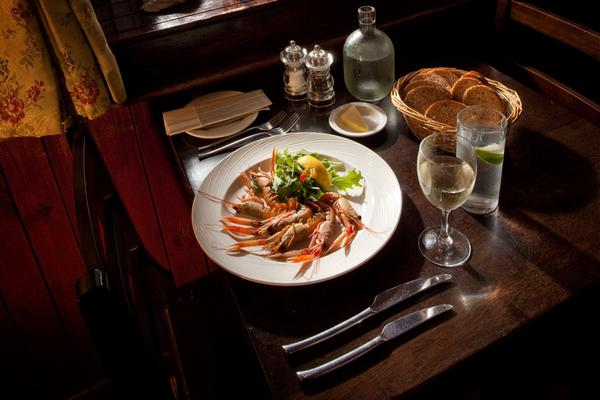 Seafood starter served at the Creel Inn, Catterline, Aberdeenshire