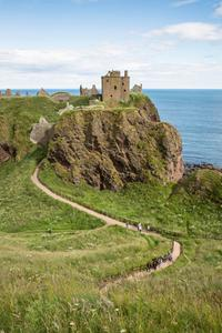 Looking out over the path up the hill to Dunnottar Castle, sitting on the coast of Aberdeenshire