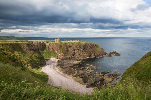 Stormy skies loom over Dunnottar Castle, Aberdeenshire