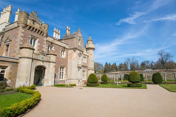 The exterior of Abbotsford House, Sir Walter Scott's home near Melrose, Scottish Borders
