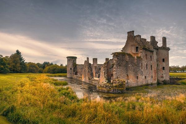 The exterior of Caerlaverock Castle near Dumfries