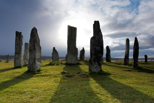 The Calanais Standing Stones stone circle at Calanais on the Isle of Lewis, Outer Hebrides