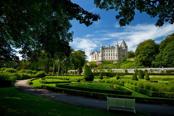 The manicured gardens and fairytale exterior of Dunrobin Castle near Golspie, Sutherland