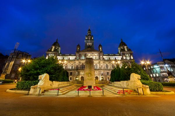 The War Memorial which stands on George Square outside the City Chambers, Glasgow