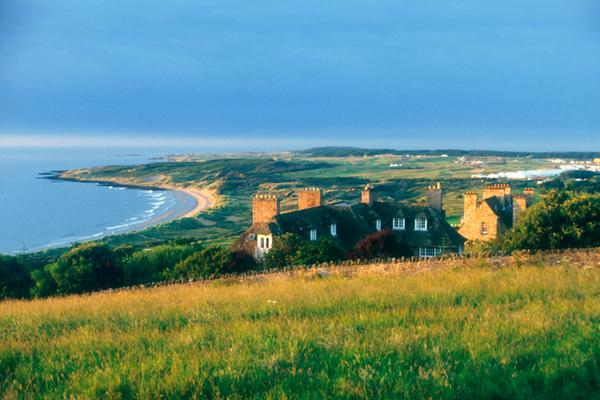 Looking along the coast at Gullane to Muirfield Golf Course