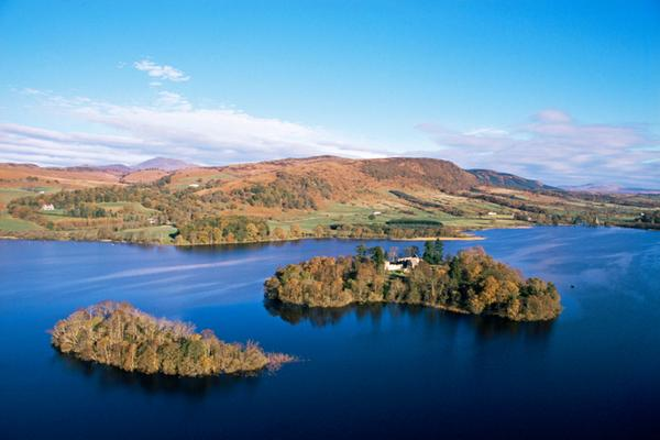 Looking down on the priory on Inchmahome island, in the Lake of Menteith