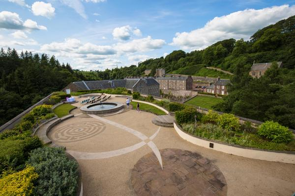 Looking out over the Roof Garden at New Lanark Visitor Centre