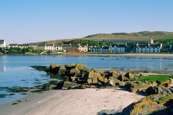 Looking across the bay to Port Ellen on Islay