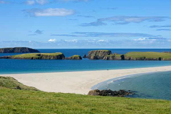 Looking over to St Ninian's Isle, joined to Mainland Shetland at Bigton by a tombolo of sand