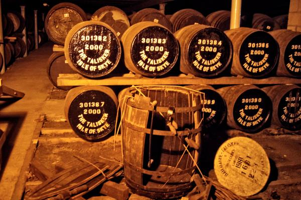 Barrels at the Talisker Distillery on the Isle of Skye