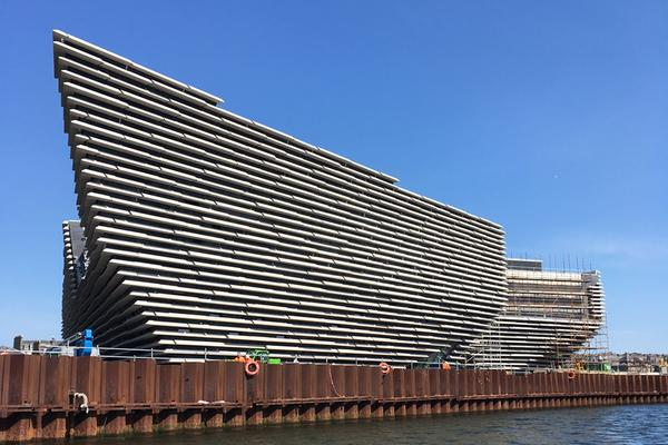The newly constructed V&A Museum of Design Dundee from the River Tay.