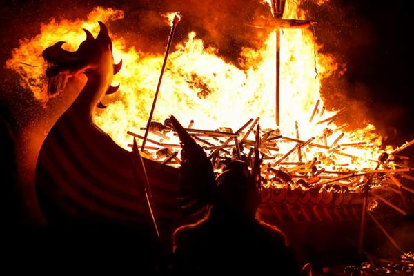 Scenes from Up Helly Aa,an annual fire festival held in Shetland © AndrewJShearer/ istockphoto