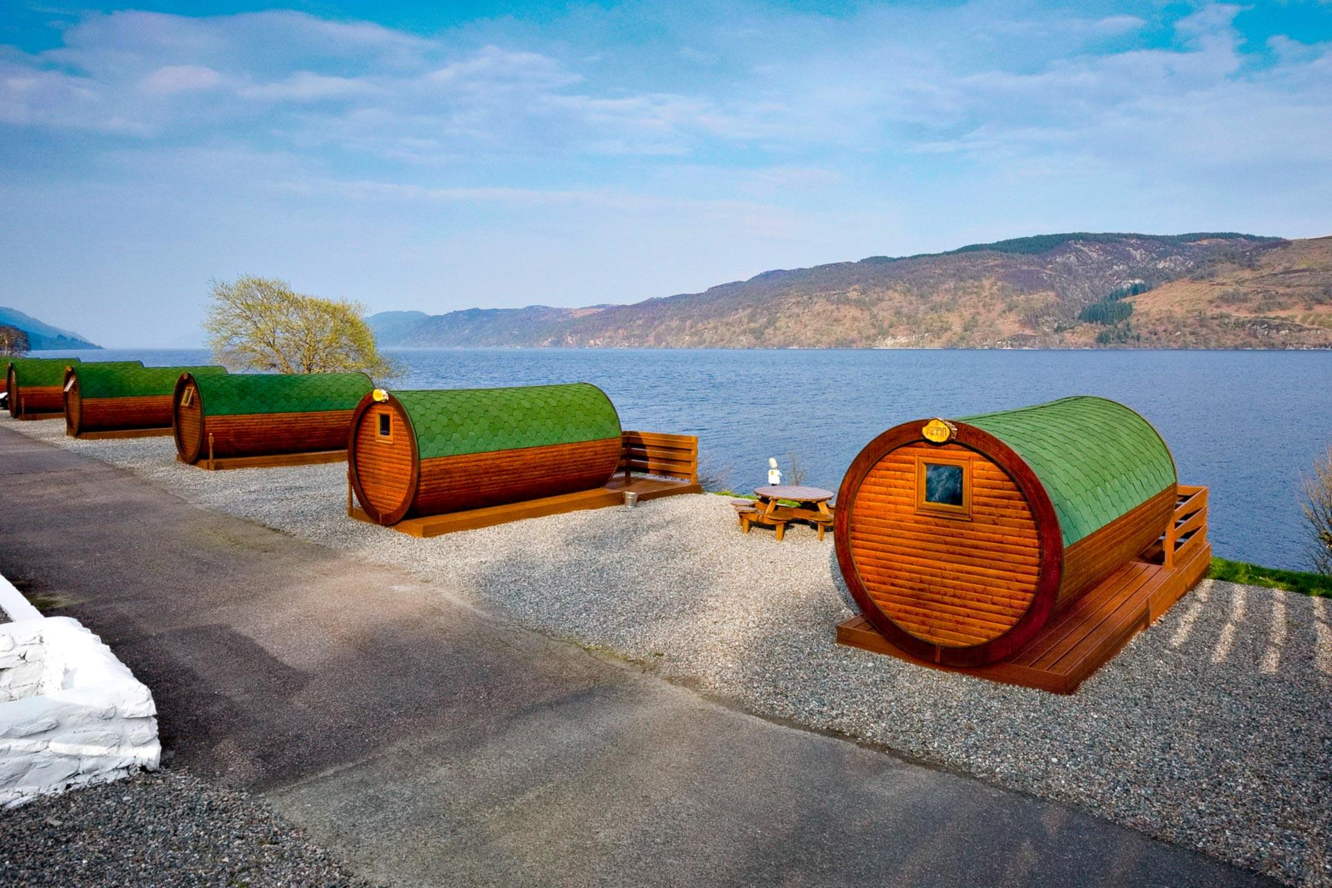 Hobbit Pods Overlooking Loch Ness At The Holiday Park Invermoriston Highlands Corsewall
