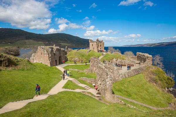 The clifftop ruins of Urquhart Castle, overlooking Loch Ness