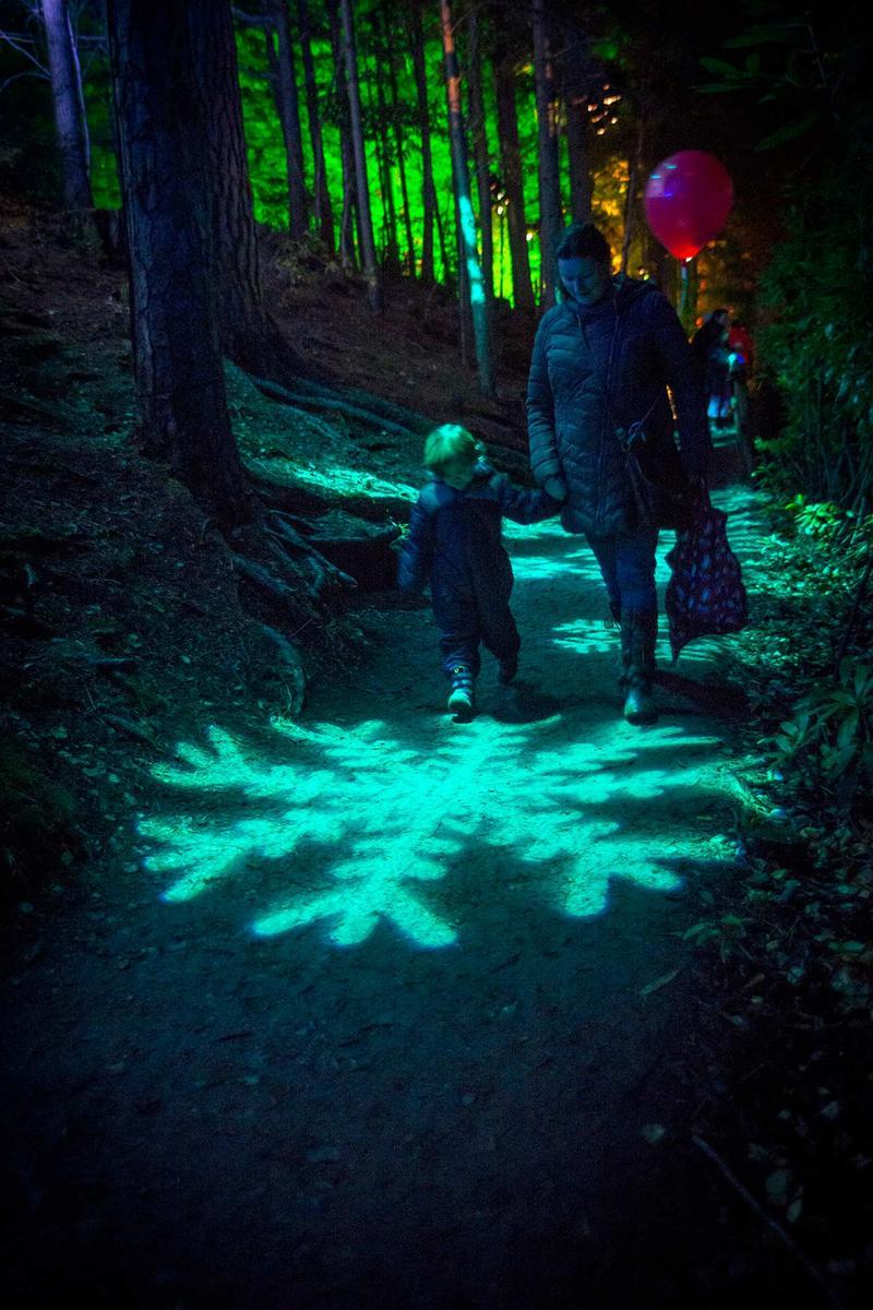 Un niño pequeño observa curioso los espectáculos del Bosque Encantado, Pitlochry